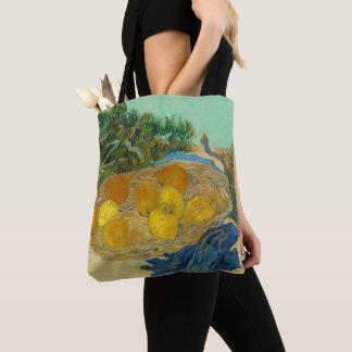 Stilleven van Sinaasappels en Citroenen met Blauw Draagtas