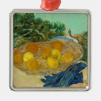 Stilleven van Sinaasappels en Citroenen met Blauw Zilverkleurig Vierkant Ornament