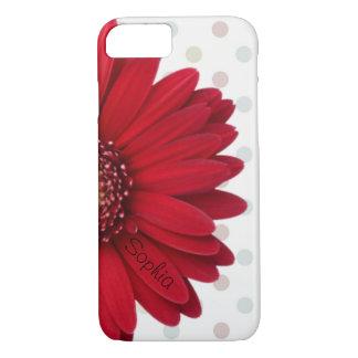 Stip Rode Daisy Custom Name iPhone 8/7 Hoesje