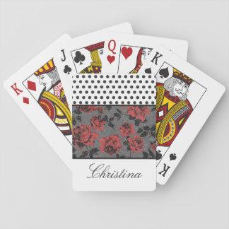 Stippen en Rozen en Wit Pokerkaarten