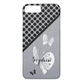 Stippen en Vlinders op Grijs iPhone 8/7 Plus Hoesje