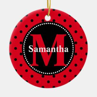 Stippen in Gepersonaliseerde Rood en Zwarte Rond Keramisch Ornament