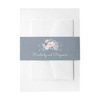 Stoffig Blauw en het Bloemen Elegante Huwelijk van Uitnodigingen Wikkel