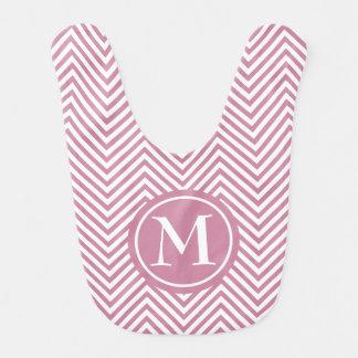 Stoffig met monogram nam & Witte zigzag-Baby Slab Slabbetje