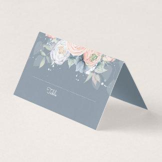 Stoffig nam en Blauwe Bloemen Elegant van de Lei Plaatskaart