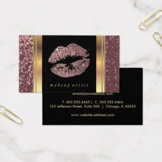 Stoffig nam Goud schitteren Lippen en Elegant Goud Visitekaartjes