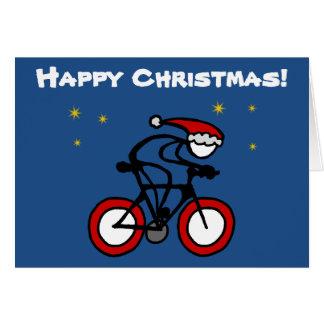 Stok-met-sport de Fietser van de Kerstman van Briefkaarten 0