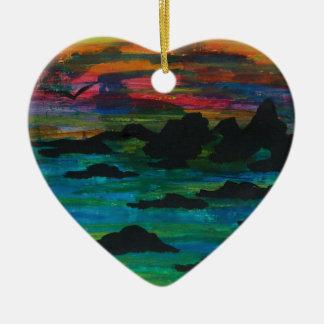 Storm in de afstand keramisch hart ornament