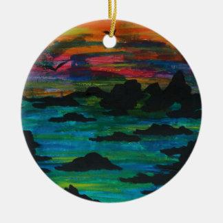 Storm in de afstand rond keramisch ornament