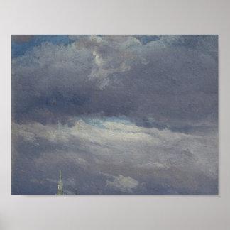 Stormclouds over de Toren van het Kasteel in Poster