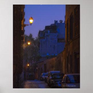Straat bij nacht in Rome, Italië Poster