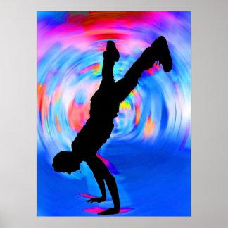 Straat die, Silhouet, Blauw/Rood/Roze Schaduwen da Poster