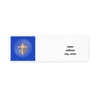 Stralen van Licht van het Godsdienstige Kruis (op Etiket
