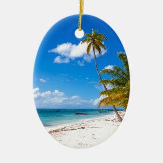 Strand in Dominicaanse Republiek Saona Keramisch Ovaal Ornament