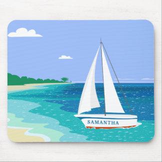 Strand Mousepad van de Zeilboot van het monogram Muismat