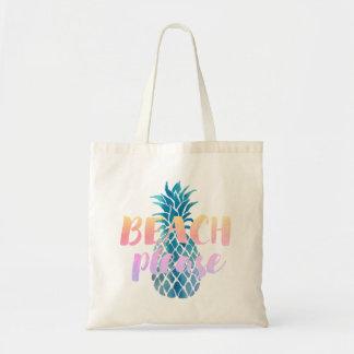 strand tevreden kalligrafie op blauwe ananas draagtas