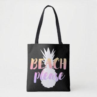 strand tevreden kalligrafie op witte ananas draagtas