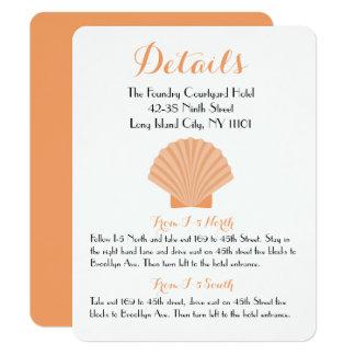 Strand van het Huwelijk van de oranje Zeeschelp 10,8x13,9 Uitnodiging Kaart