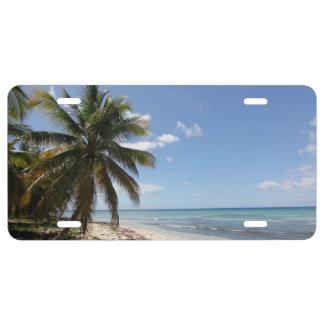 Strand van het Paradijs van Saona van Isla het Nummerplaat