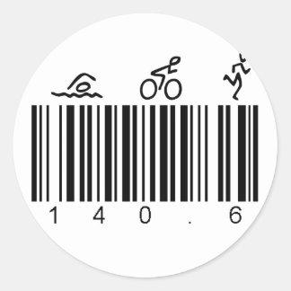 Streepjescode 140.6 ronde sticker