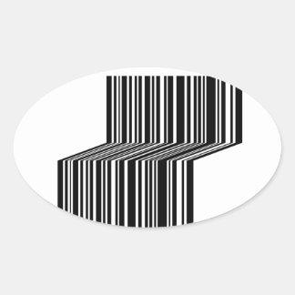 Streepjescode als een bank gestalte die wordt ovale stickers