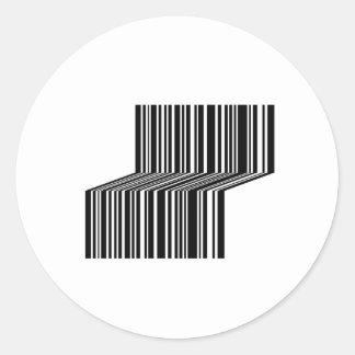 Streepjescode als een bank gestalte die wordt ronde sticker