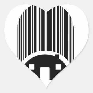 Streepjescode als een huis gestalte dat wordt hartvormige sticker
