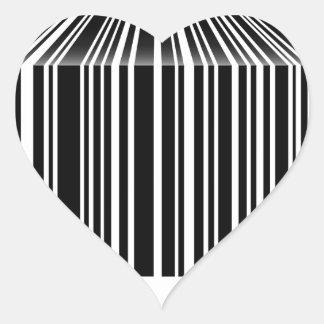 Streepjescode als lijst gestalte die wordt gegeven hartvormige sticker