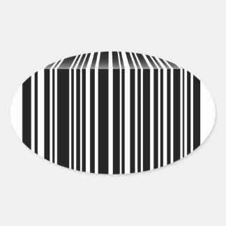 Streepjescode als lijst gestalte die wordt gegeven ovale stickers
