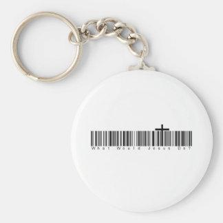 Streepjescode WWJD Sleutelhanger