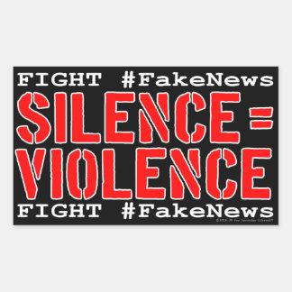 Strijd #FakeNews: De stilte evenaart Geweld Rechthoekige Sticker