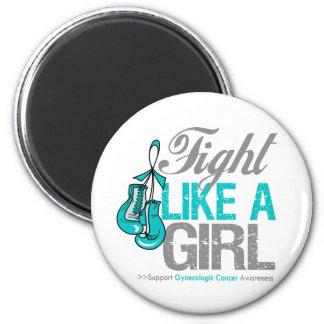 Strijd zoals een Meisje die - Kanker Gynecologic i Koelkast Magneten