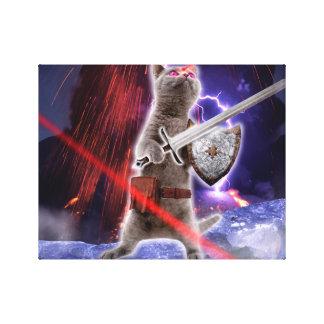 strijders katten - ridderkat - kattenlaser canvas afdrukken