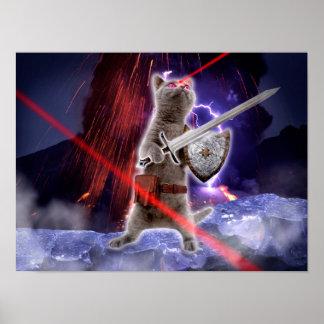 strijders katten - ridderkat - kattenlaser poster