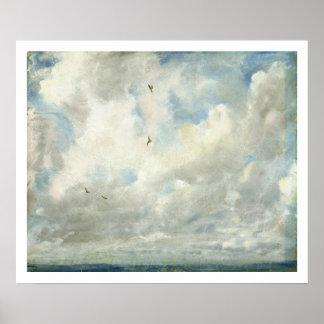 Studie van de wolk, 1821 (olie op aan boord bepaal poster
