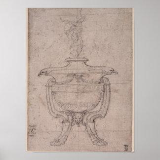 Studie van een decoratieve urn poster