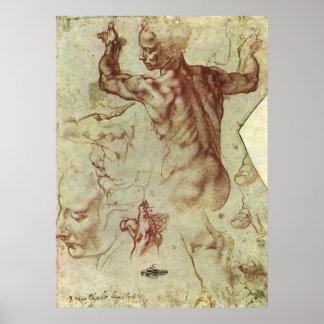 Studie van Libische Sibille door Michelangelo Poster