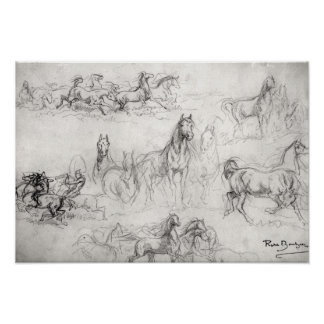 Studie van Paarden Poster