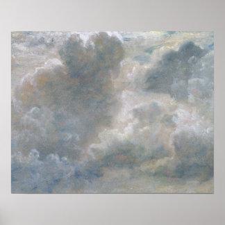 Studie van Wolken van de Cumulus, 1822 (olie op pa Poster