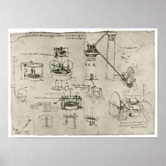 Studie van Zuigpompen, Leonardo da Vinci Poster