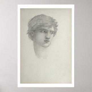 Studie voor het Hoofd van Perseus (potlood op papi Poster