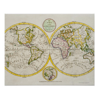 Studio van antiek wereldkaart is ontsproten 2 die poster