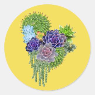 Succulent-huwelijk-boeket Ronde Sticker