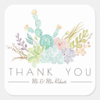 Succulente Waterverf | van het Boeket dankt u Vierkante Sticker