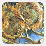 Sunflowers F. 376 ~ Van Gogh Vierkante Stickers