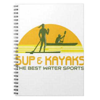 SUP en van de Kajak Retro de Sporten van het Water Ringband Notitieboek