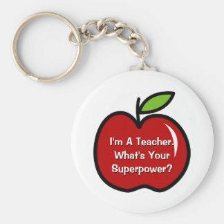 Super leraar keychain met rode appel sleutelhanger