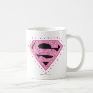 Supergirl Verontrust Zwart en Roze Logo Koffiemok