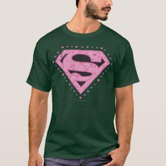 Supergirl Verontrust Zwart en Roze Logo T Shirt