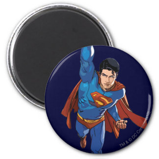 Superman die vooruit vliegen ronde magneet 5,7 cm